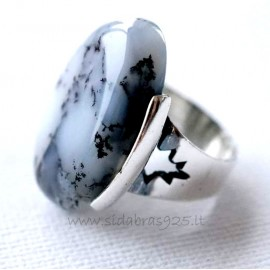 Ring with agate Ž154-1