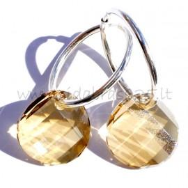 """Earrings with brown Swarovski crystals """"RG"""""""