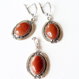 Earrings with Sunstone (brown) A132