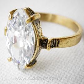 Žalvarinis Žiedas ŽŽ113 baltas Cirkonis