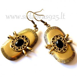 Brass earrings with Onyx ŽA010