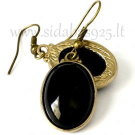 Brass earrings with Onyx ŽA515