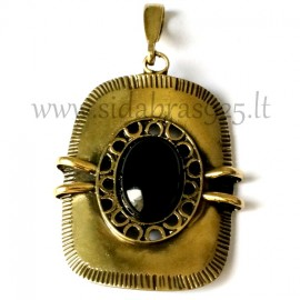 Brass pendant with Onyx ŽP009