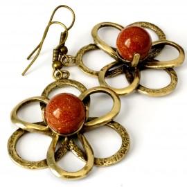 Brass earrings with Sunstone ŽA532