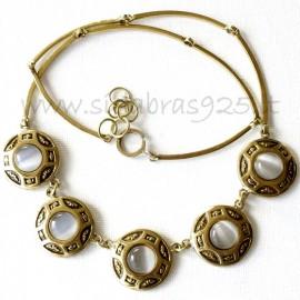 Brass necklace with Cat's Eye stones ŽK257