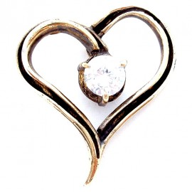 "Brass pendant ""Heart with zircon"" ŽP369"