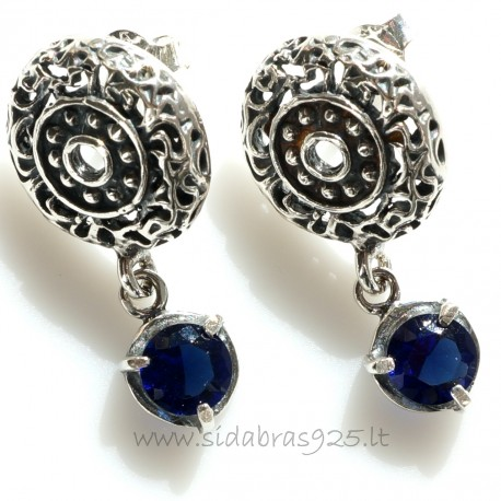"""Earrings with Zirconia """"Mėlynas spindesys"""""""