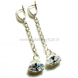 Earrings with chain and zircon