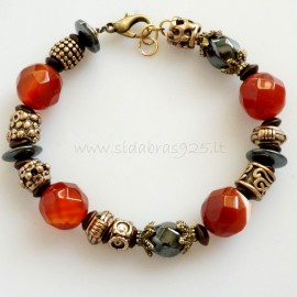 Bronze bracelet with bronze, carnelian and hematite