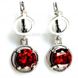 Earrings with bordeaux Zirconia