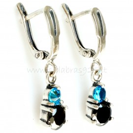 """Earrings with blue and black Zirconia """"Felicite"""""""