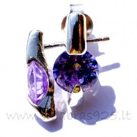 "Earrings with purple Zircon ""Žėrutis"""