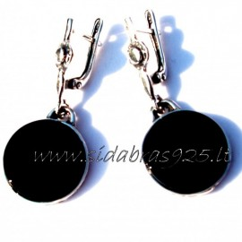 Earrings with flat Onyx A489