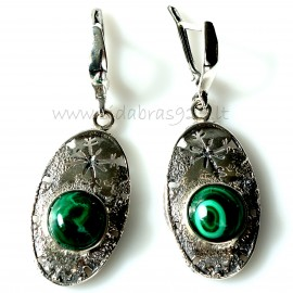 Earrings with Malachite A547