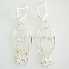Earrings with square Zircons A411