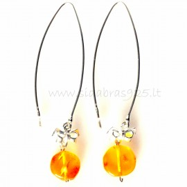 """Earrings """"Ribbon"""" withwith Amber"""
