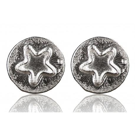 "Earrings minimalist ""Round star"" A747"