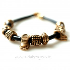 Bronze bracelet with gold colored beads J9