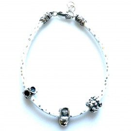Bracelet with beads on a white rope AP5,2mm