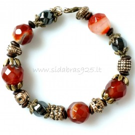 Bronze one-piece bracelet with natural stones Carnelian and Hematite