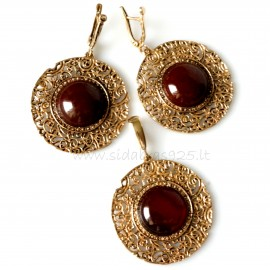 Bronze jewellery set with Carnelian BKA250P248