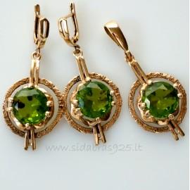 Bronze jewellery set BA341BP342 žalias cirkonis