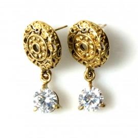 Brass earrings, openwork with white zircon ŽA