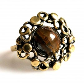 Brass ring with tiger stone or onyx ŽŽ104