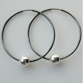 """Earrings Hoop black large with or without bubbles """"Laumė ARJ-5 cm"""""""