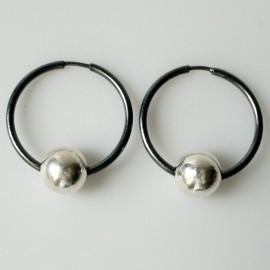 Earrings Hoop black with bubble ARJ 2,5 cm
