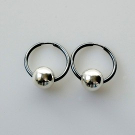 """Earrings Hoop small black with bubble """"Dirvolika ARJ-2,0 cm"""""""