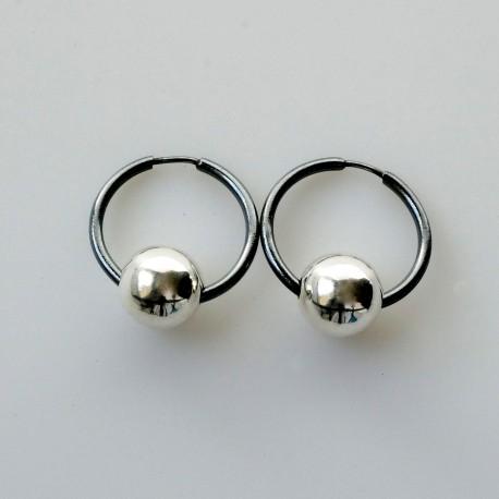 Earrings Hoop small black with bubble ARJ1