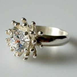 """Ring with Zirconia Engagement """"Heavenly flower"""""""