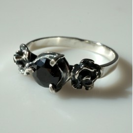 "Ring with black Zirconia ""Roses"" Ž137"