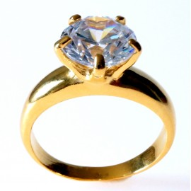 Engagement Ring Gold Plated with Zircon Ž731Au