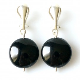"Earrings ""Clips with Round Onyx"""