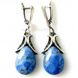 Earrings with Dumortierite stone A486