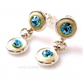 "Earrings with blue Swarovski ""Two Sparkles"""