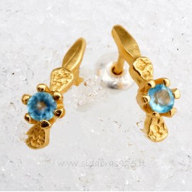 Earrings gold plated with crystal T