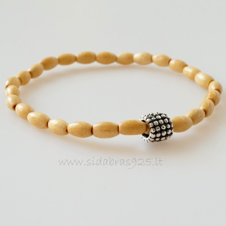 Bracelet with natural wood and silver ball