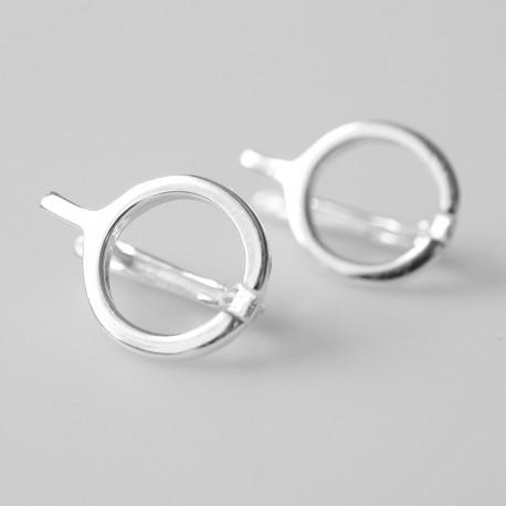 Earrings minimalist narrow wheel with a rod